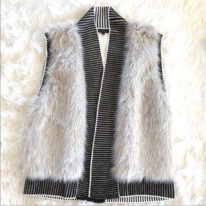 Banana Republic Faux Fur Knit Vest
